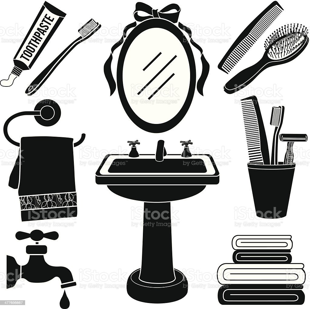 Bathroom Clip Art Black And White: Bathroom Sink Icon Set In Black And White Stock Vector Art