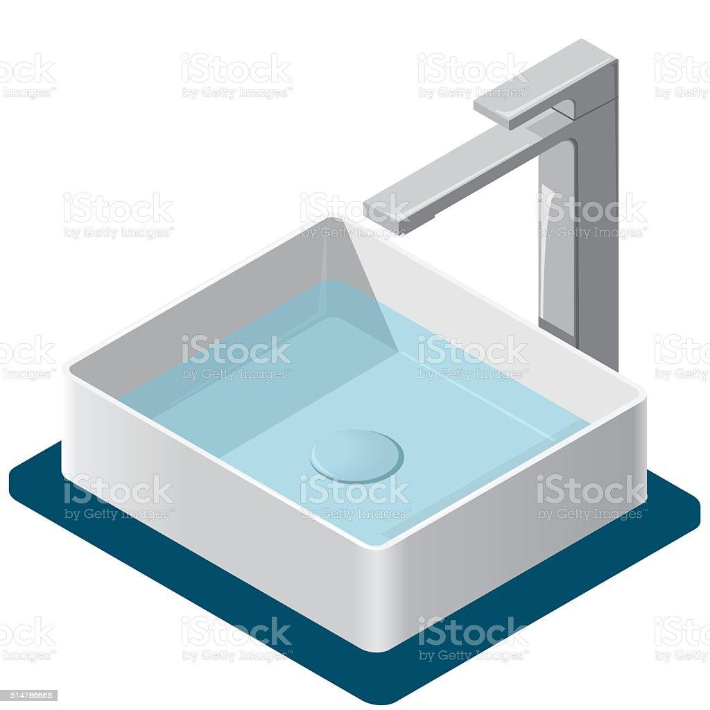 Ilustración de Lavamanos Del Baño Isométricos Lavamanos Con Barril ...