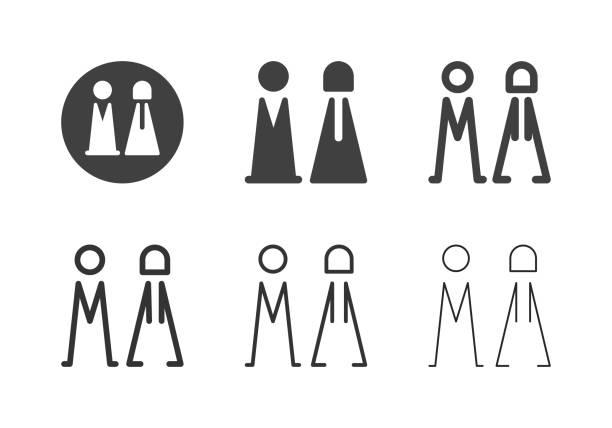 bathroom symbol icons - multi series - old man sex clip art stock illustrations, clip art, cartoons, & icons
