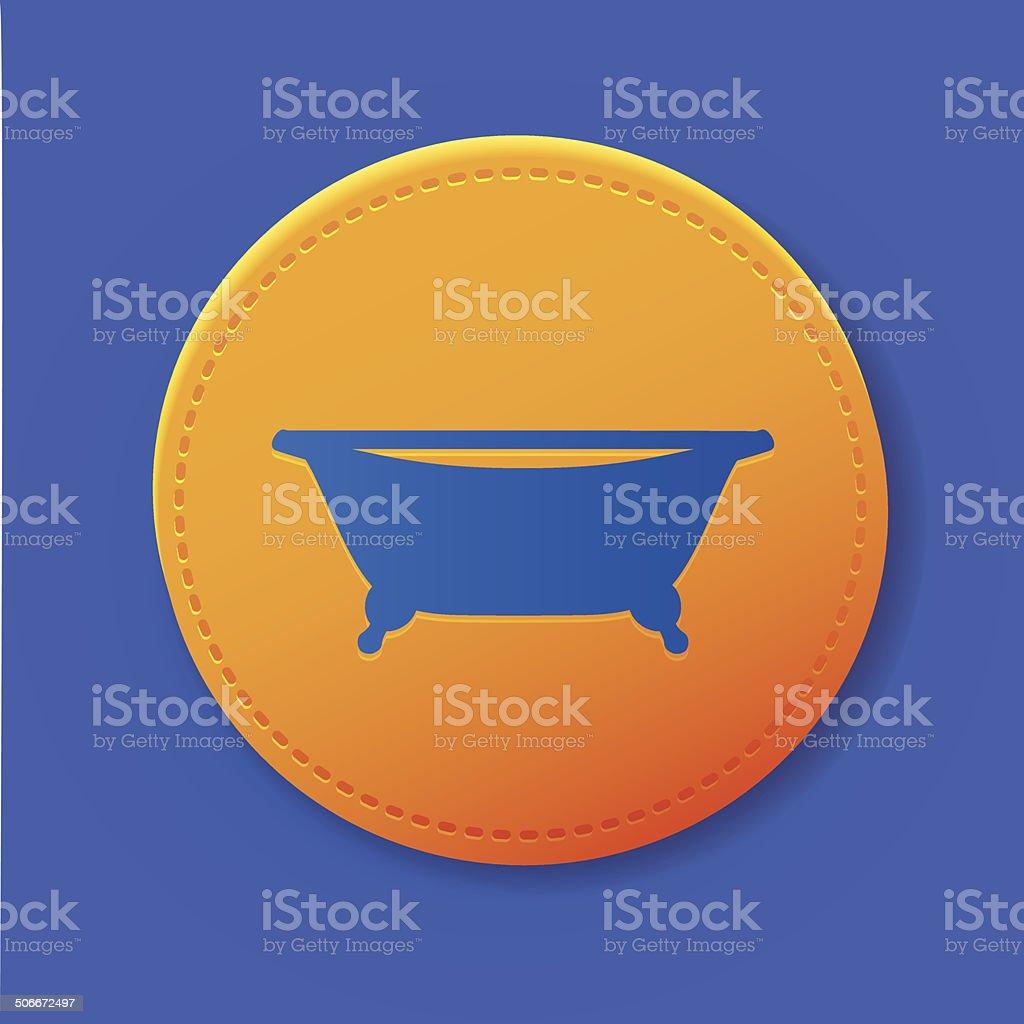 Bathroom symbol on yellow button,vector royalty-free stock vector art