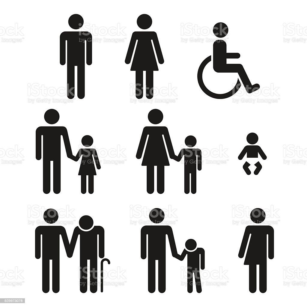 Badezimmer Symbole Menschen Symbole – Vektorgrafik