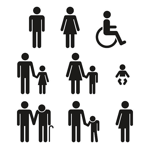 bathroom symbols people icons - old man sex silhouette stock illustrations, clip art, cartoons, & icons
