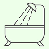 Bathroom thin line icon. Bathtub and shower outline style pictogram on white background. Real estate and construction signs for mobile concept and web design. Vector graphics