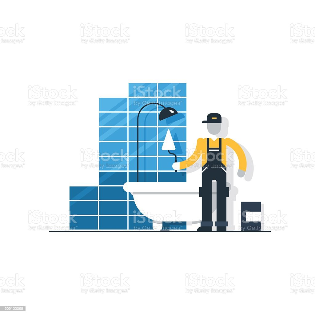 Bathroom Tiler stock vector art 506103068 | iStock