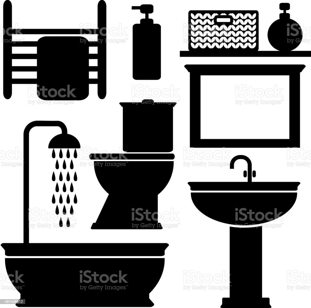Bathroom Toilet Black Icons Set Vector Black Silhouettes