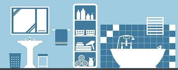 - badezimmer - spiegelfliesen stock-grafiken, -clipart, -cartoons und -symbole
