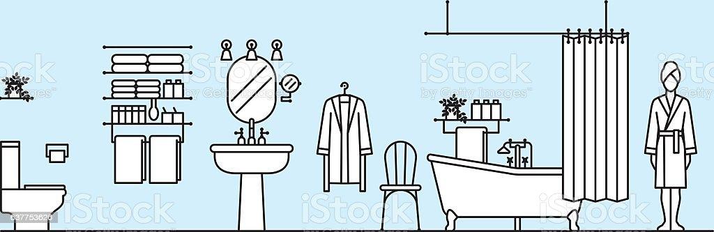 bathroom vector art illustration