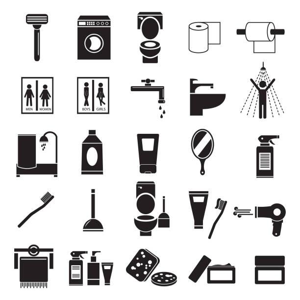 bad wc vektor icon set, ikonen wie rasierer, creme, zahnbürste, schwamm, spiegel und andere - duscharmaturen stock-grafiken, -clipart, -cartoons und -symbole
