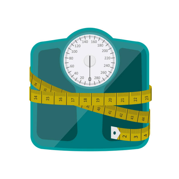 bathroom weighing scale vector design - waga opis fizyczny stock illustrations