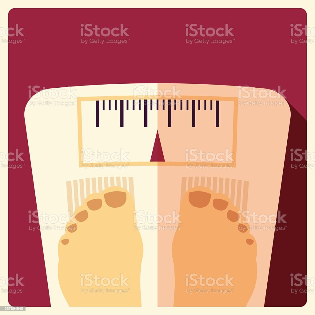 Bathroom weight scales, flat design vector art illustration
