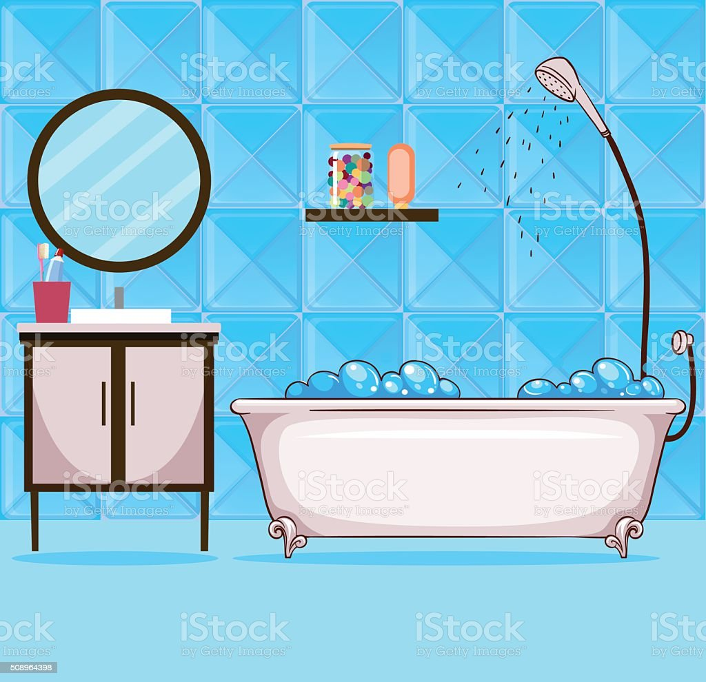 Bathroom With Bathtub And Shower Stock Vector Art & More Images of ...