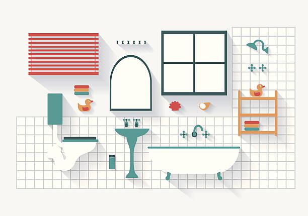 badezimmer mit inventar und installationen langen schatten - halbwände stock-grafiken, -clipart, -cartoons und -symbole