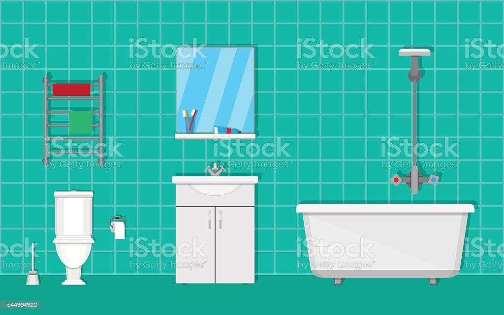 Bathroom with furniture vector art illustration