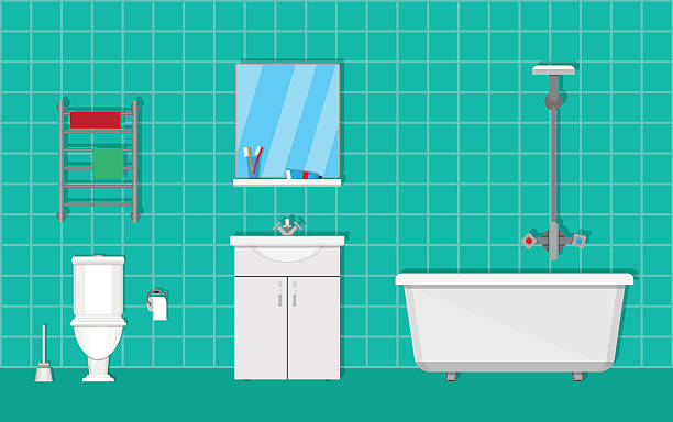 badezimmer mit möbeln - spiegelfliesen stock-grafiken, -clipart, -cartoons und -symbole