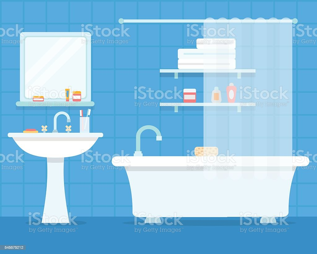 Badezimmer mit Möbeln – Vektorgrafik