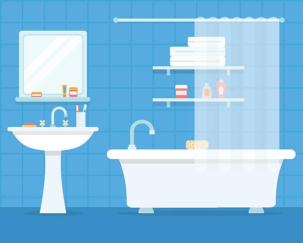 illustrazioni stock, clip art, cartoni animati e icone di tendenza di bagno con mobili - bagno
