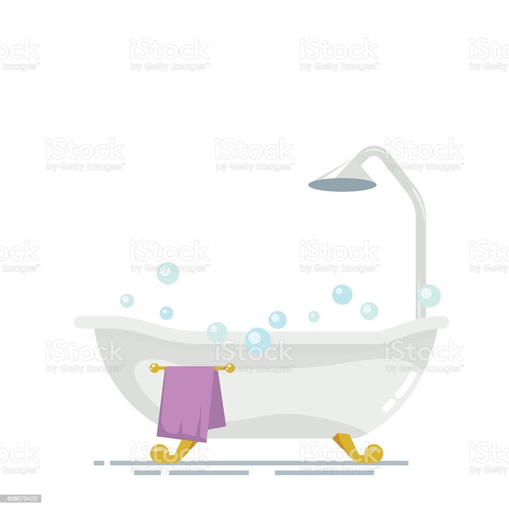 Bathroom with shower isolated on white background. Soap bubbles or vector art illustration