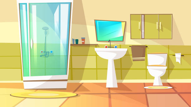 Bathroom with stall shower vector illustration Bathroom with stall shower vector illustration of home interior. Domestic toilet or bath room furniture with sink, mirror and shampoo or shower gel on shelf with towel or carpet on tile floor bathroom backgrounds stock illustrations