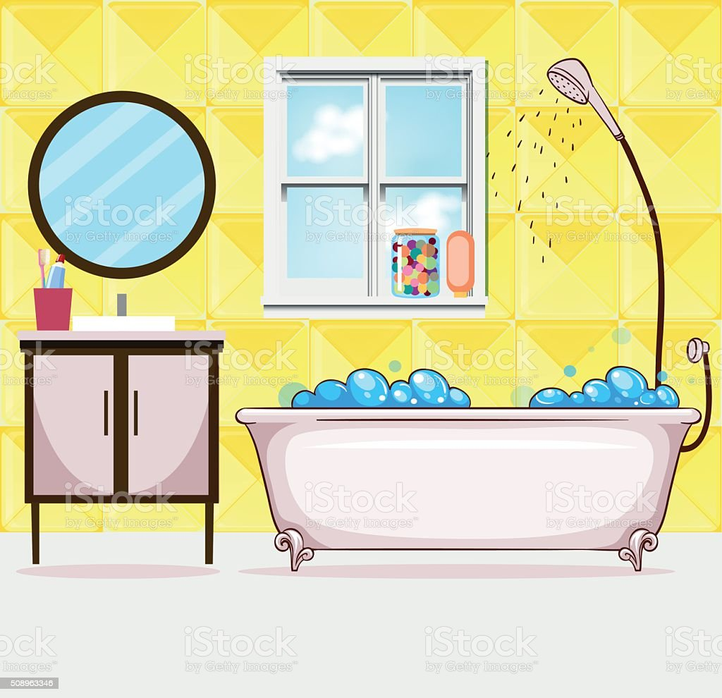 Bathroom with tub and shower vector art illustration