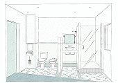 Drawing bathroom, sketch an interior designer.