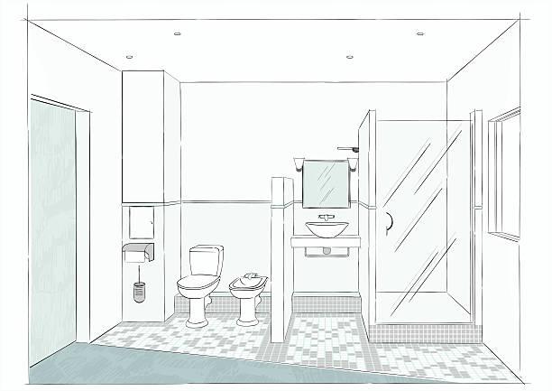 Bathroom's sketch Drawing bathroom, sketch an interior designer. bathroom patterns stock illustrations