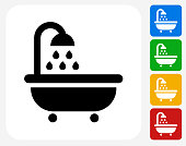 Bathtub and Running Water Icon Flat Graphic Design