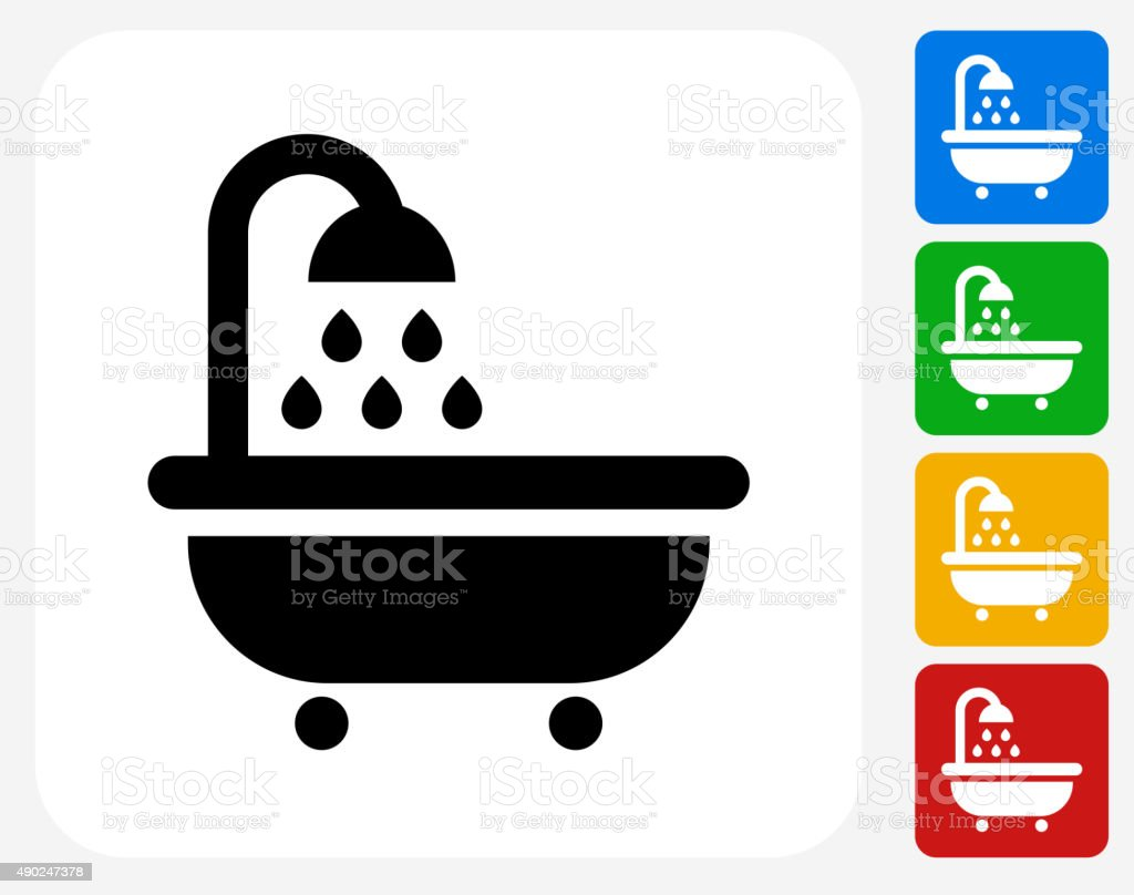 Bathtub and Running Water Icon Flat Graphic Design vector art illustration