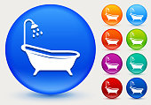 Bathtub and Shower Icon on Shiny Color Circle Buttons. The icon is positioned on a large blue round button. The button is shiny and has a slight glow and shadow. There are 8 alternate color smaller buttons on the right side of the image. These buttons feature the same vector icon as the large button. The colors include orange, red, purple, maroon, green, and indigo variations.