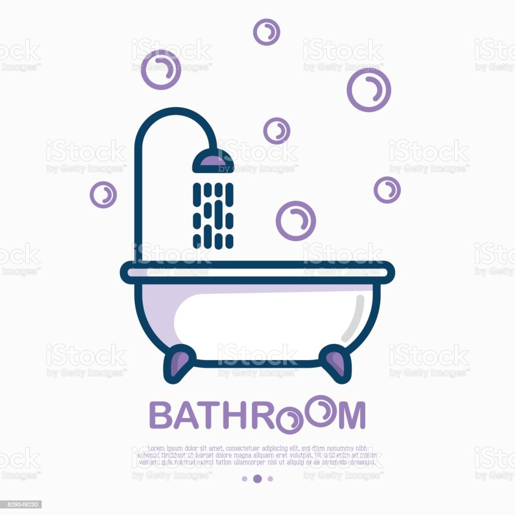Bathtub and shower with running water and bubbles around. Thin line vector illustration of plumbing or save water concept. vector art illustration