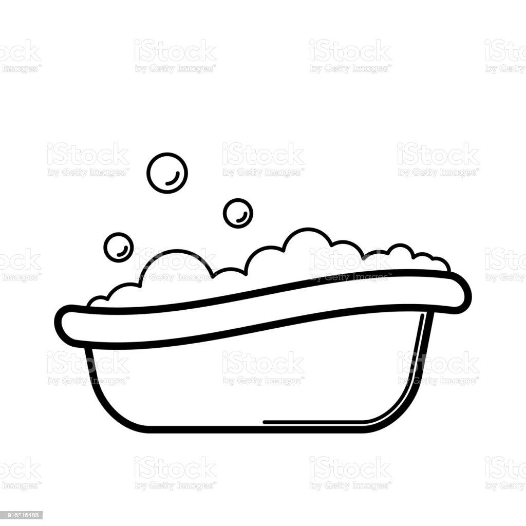 Bathtub. Baby icon on a white background, line vector design. vector art illustration