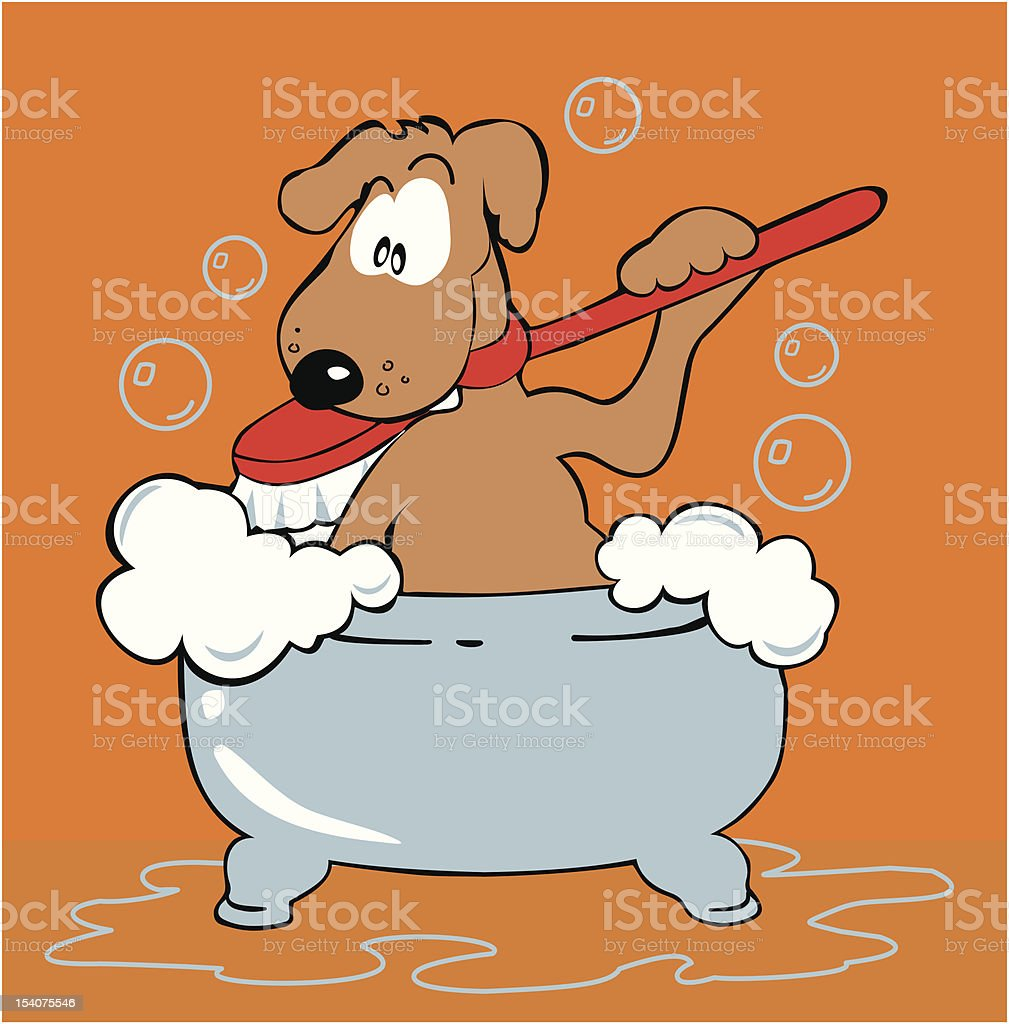 bathtub dog royalty-free stock vector art