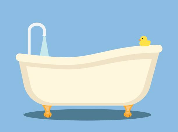 bathtub Flat Design vector art illustration