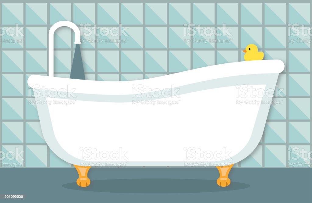 banheira de Design plano - ilustração de arte em vetor