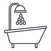 bathtub shower vector line icon, sign, illustration on white background, editable strokes