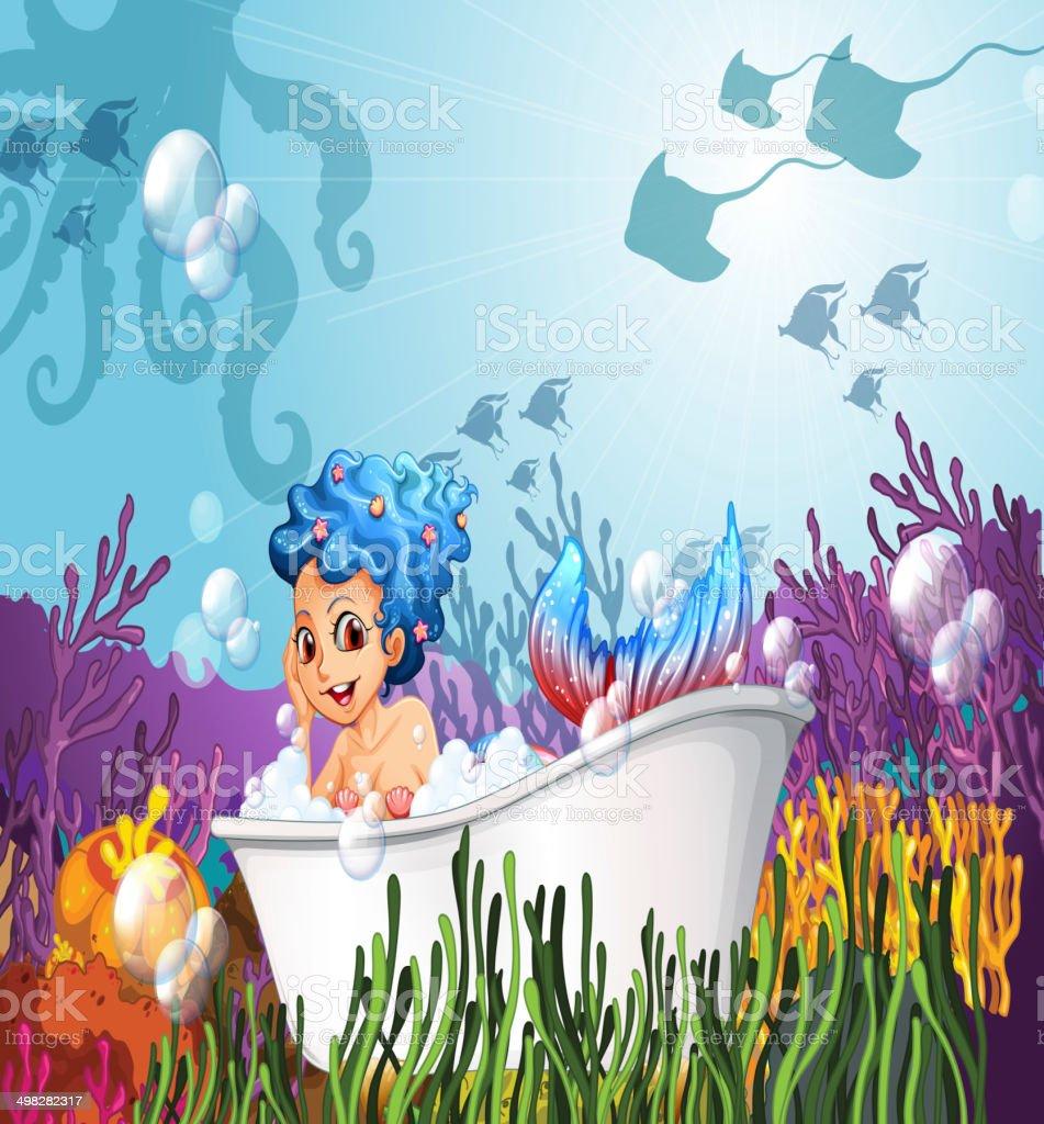 Bathtub under the sea with a mermaid vector art illustration