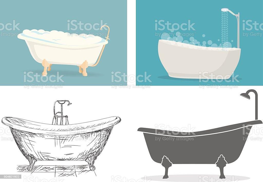 Banheira - ilustração de arte em vetor