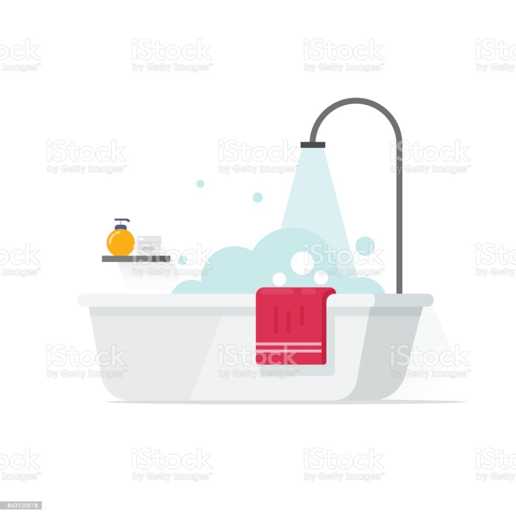 Bathtub with foam bubbles and shower vector illustration isolated on white, flat cartoon bathroom idea vector art illustration
