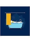 Bathtub with foam bubbles inside and bath yellow rubber duck and open shower curtain isolated on blue background. Bath time in flat style vector illustration