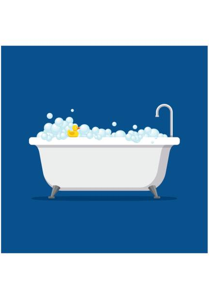 Bathtub with foam bubbles inside and bath yellow rubber duck isolated on blue background. Bath time in flat style vector illustration vector art illustration
