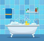 Bathtub with foam bubbles
