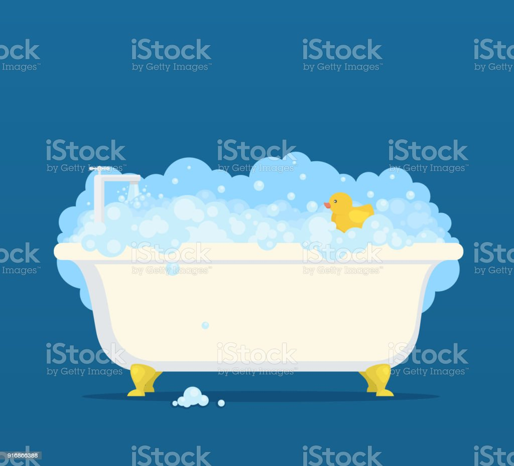 Bathtub with soap bubbles and cute duck vector art illustration