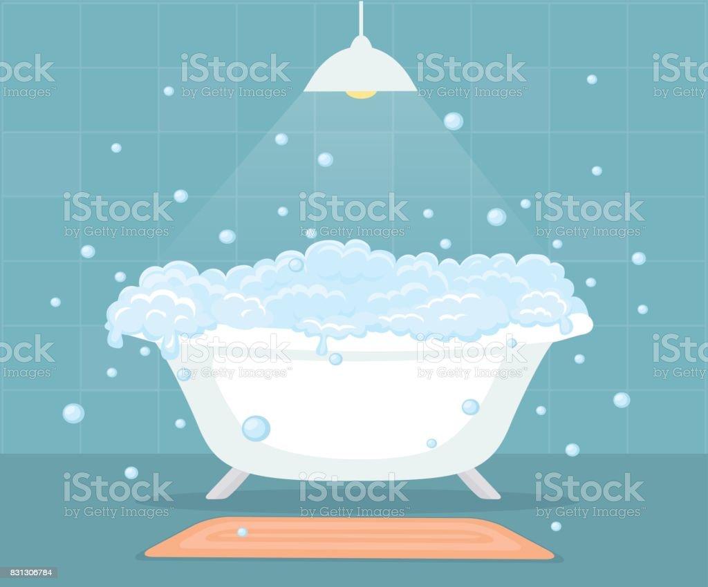 Banheira com bolhas de sabão no banheiro - ilustração de arte em vetor