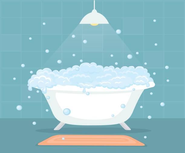 Bathtub with soap bubbles in a bathroom vector art illustration