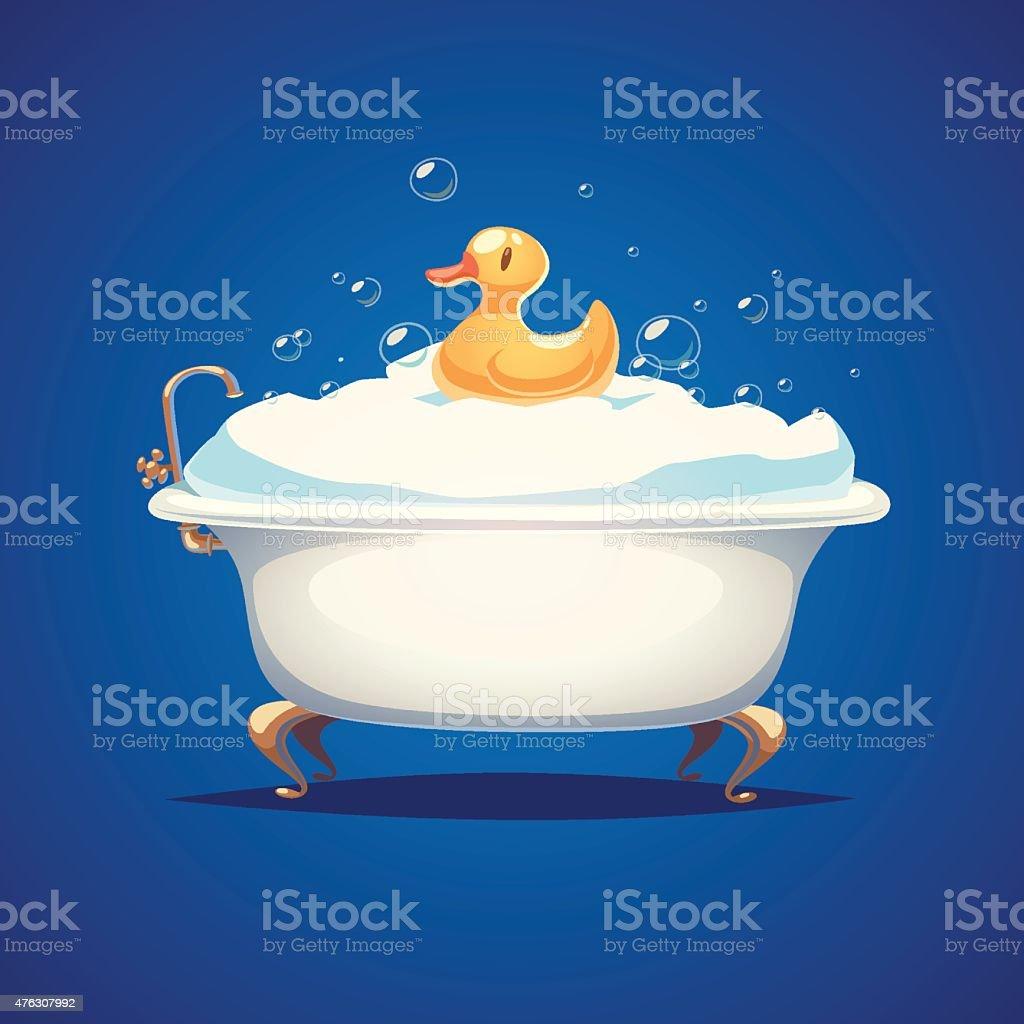Bathtube and a duck vector art illustration