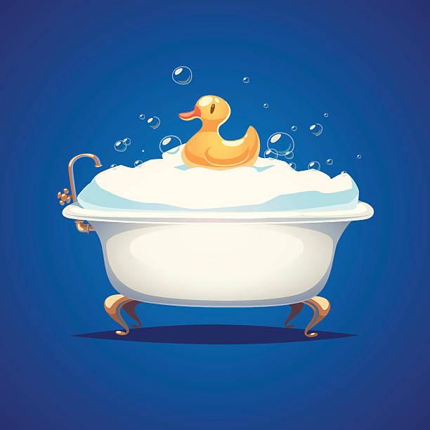 bildbanksillustrationer, clip art samt tecknat material och ikoner med bathtube and a duck - baby bathtub
