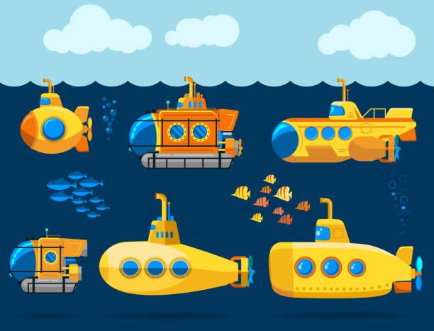 Bathyscaphe cartoon, Yellow Submarine sea research transport. Vector vector art illustration