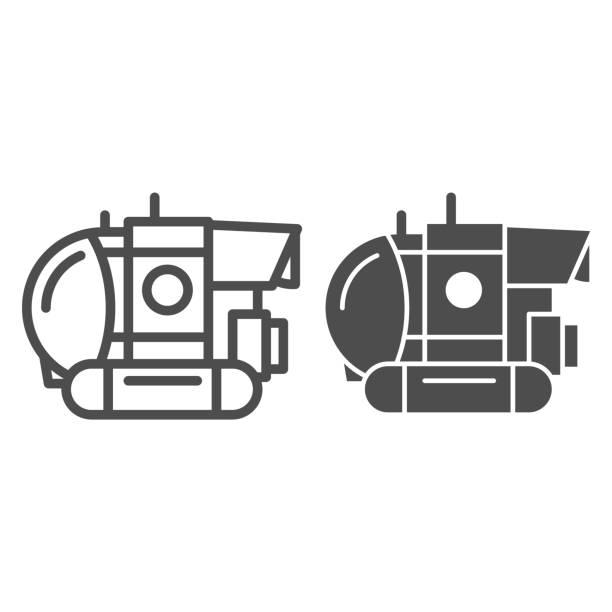stockillustraties, clipart, cartoons en iconen met bathyscaphe lijn en stevig pictogram, oceaanconcept, militair onderzeeërteken op witte achtergrond, onderwater bathyscaphe pictogram in overzichtsstijl voor mobiel concept en webontwerp. vectorafbeeldingen. - ocean under water