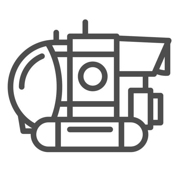 stockillustraties, clipart, cartoons en iconen met het lijnpictogram van bathyscaphe, oceaanconcept, militair onderzeeërteken op witte achtergrond, onderwater bathyscaphe pictogram in overzichtsstijl voor mobiel concept en webontwerp. vectorafbeeldingen. - ocean under water