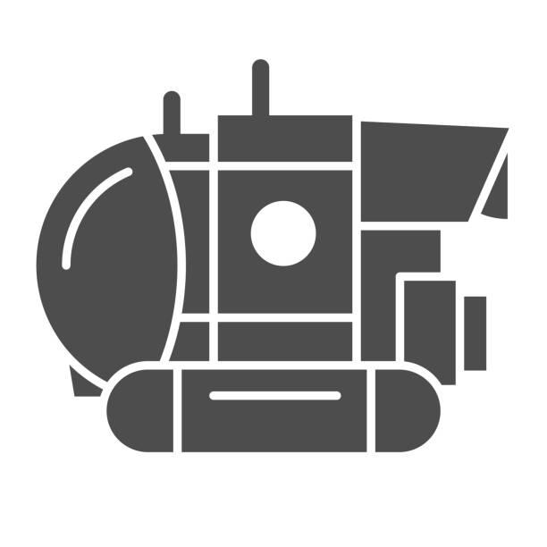 stockillustraties, clipart, cartoons en iconen met het stevige pictogram van bathyscaphe, oceaanconcept, militair onderzeeërteken op witte achtergrond, onderwater bathyscaphe pictogram in glyph stijl voor mobiel concept en webontwerp. vectorafbeeldingen. - ocean under water