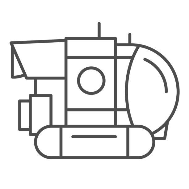 stockillustraties, clipart, cartoons en iconen met bathyscaphe dunne lijnpictogram, oceaanconcept, militair onderzeeërteken op witte achtergrond, onderwater bathyscaphe pictogram in overzichtsstijl voor mobiel concept en webontwerp. vectorafbeeldingen. - ocean under water
